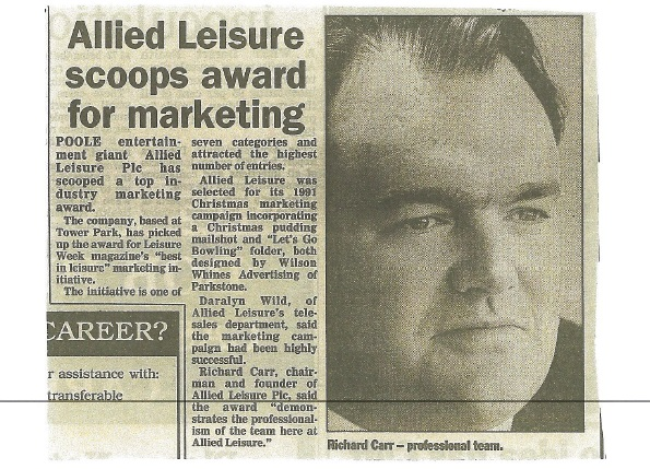 Richard Carr Scoops Marketing Award for Allied Leisure
